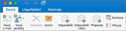 Pás karet v Outlooku 2016 pro Mac