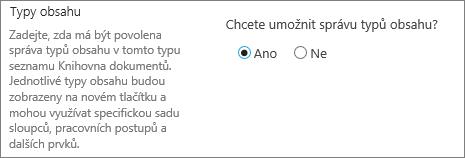 Povolit správu typů obsahu zobrazený po kliknutí na upřesňující nastavení