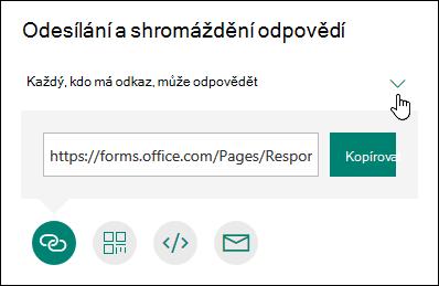 Čtyři možnosti pro sdílení formuláře: Kopírování, odeslání e-mailem, kód QR a další