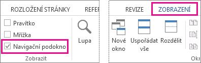 Obrázek ukazující zaškrtávací pole navigačního podokna na kartě Zobrazení