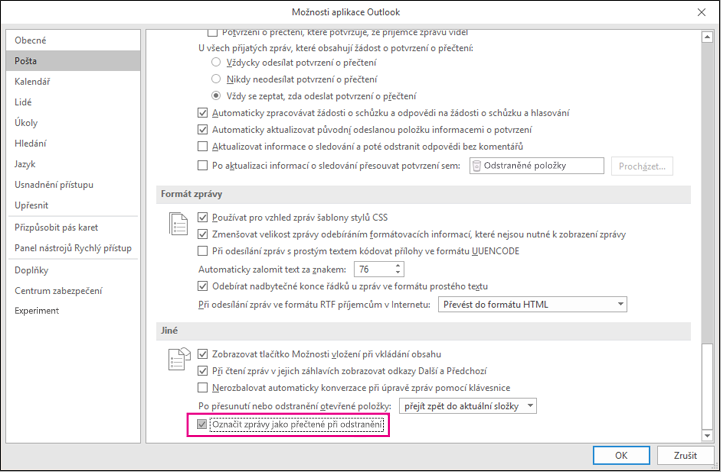 E-mailová možnosti označit jako přečtené při odstranění zvýrazněným