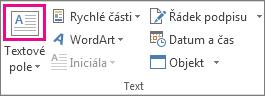 Tlačítko Textové pole ve skupině Text