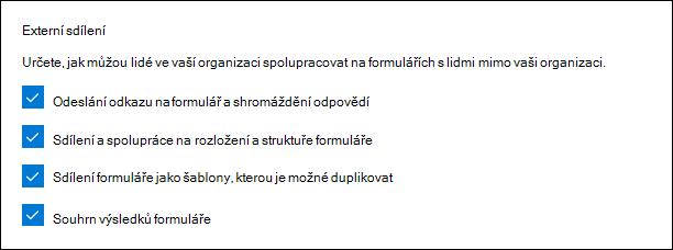 Nastavení správce Microsoft Forms pro externí sdílení