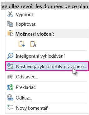 Kliknutí pravým tlačítkem a kliknutí na Nastavit jazyk kontroly pravopisu