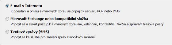 Výběr služby Outlooku 2010 pro nový účet
