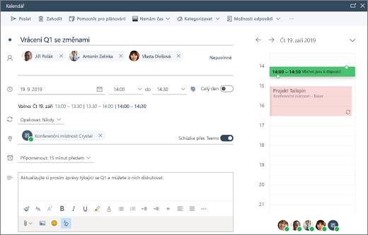 Naplánování schůzky v Outlooku na webu