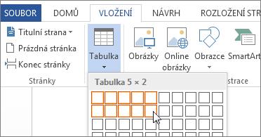 Vložení mřížky tabulky