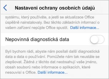 Snímek obrazovky s přepínačem Nepovinných diagnostických dat