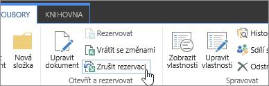 Tlačítko Zrušit rezervaci pro dokument ve službě SPO