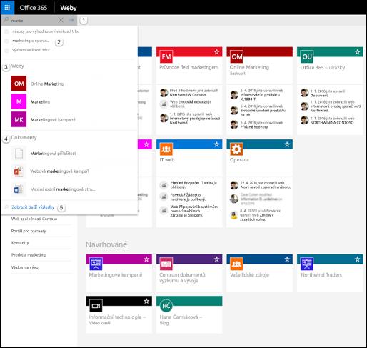 Hledání v Office 365