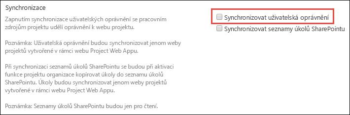 Synchronizace oprávnění uživatele