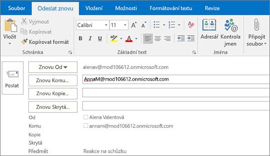 Snímek obrazovky s možností opětovného poslání e-mailové zprávy V poli Znovu Komu nabízí funkce automatického dokončování adresu příjemce