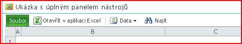 Panel nástrojů webové části Excel Web Access se zobrazenými tlačítky Otevřít, Data, Hledat a Nápověda