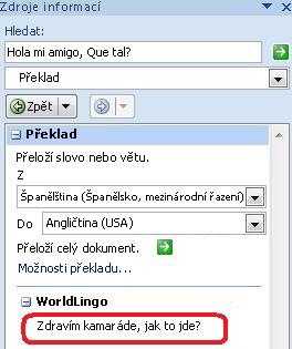 Dialogové okno Možnosti překladu