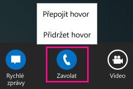 Snímek obrazovky nabídky přepojení v Lyncu