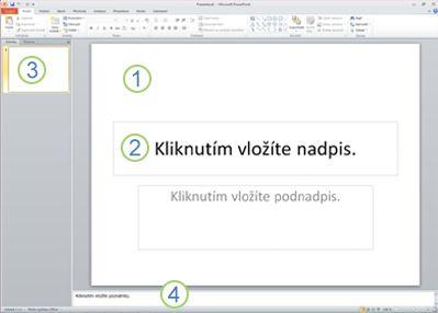 Pracovní prostředí aplikace PowerPoint 2010 v normálním zobrazení