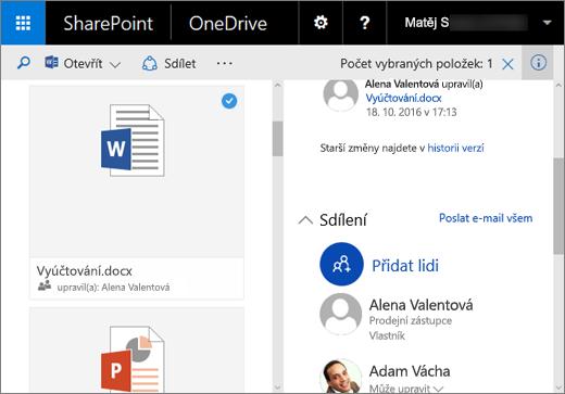 Snímek obrazovky s podoknem podrobností ve OneDrivu pro firmy v SharePoint Serveru 2016 s balíčkem Feature Pack 1