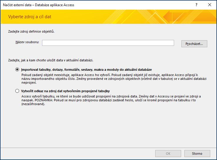 Obrázek průvodce importem Načíst externí data – Databáze aplikace Access