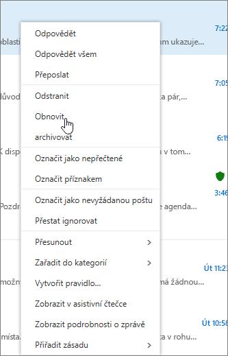 Snímek obrazovky s vybranou možností Obnovit poté, co je označen požadovaný e-mail ve složce Odstraněná pošta.