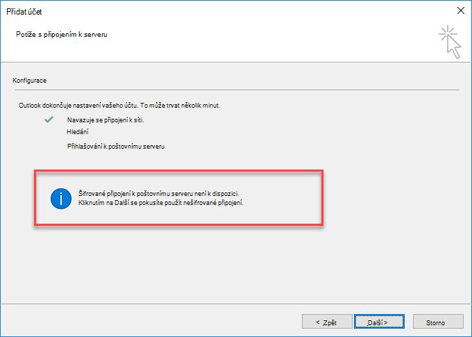 Outlook – chyba šifrovaného připojení