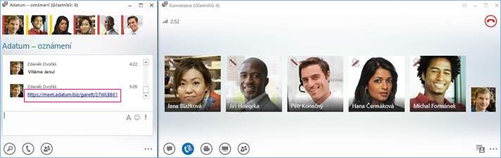 Snímek obrazovky chatovací místnosti s konferenčním hovorem