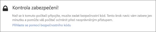 Ukázkové rozhraní oznámení ověřovacího kódu pro požadavek na načtení OneDrivu