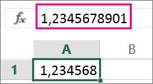 Číslo se na listu zobrazuje jako zaokrouhlené, ale na řádku vzorců je celé.
