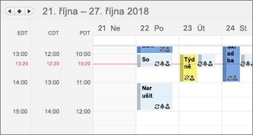 Kalendář se zobrazením 3 časových pásem
