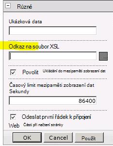 Vlastnost Odkaz na data XSL v nabídce Webová část