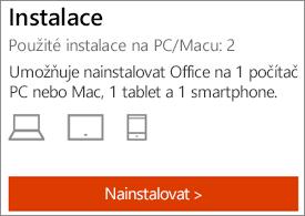 Ukazuje počet instalací a tlačítko Instalovat
