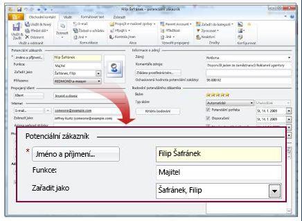 Záznam potenciálního zákazníka se zobrazením pole pro jméno