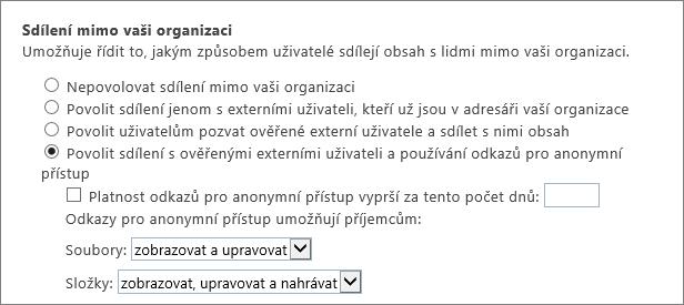Externí sdílení stránku klienta