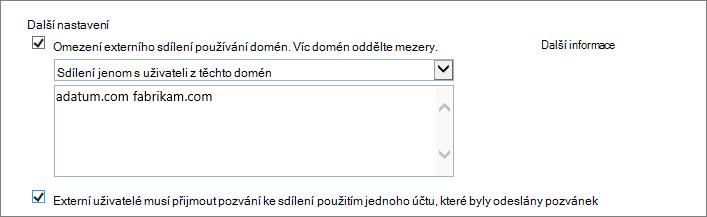 Další nastavení pro omezení externího sdílení v Office 365 SPO