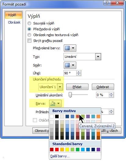 Pokud chcete v barevném přechodu použít vlastní barevné schéma, vyberte přechodovou zarážku a zvolte barvu.