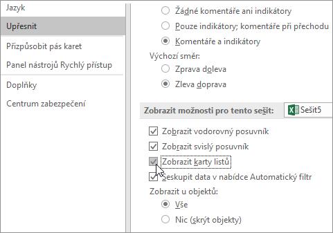 Nastavení zobrazení oušek listů v možnostech Excelu
