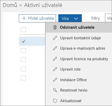 Odstranění uživatele v Centru pro správu Office 365