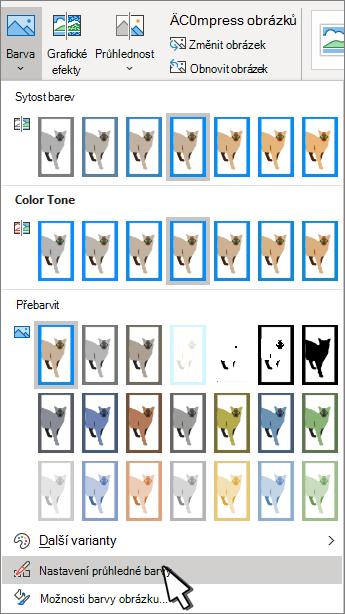 Nabídka Barva s vybranou položkou nastavit průhlednost