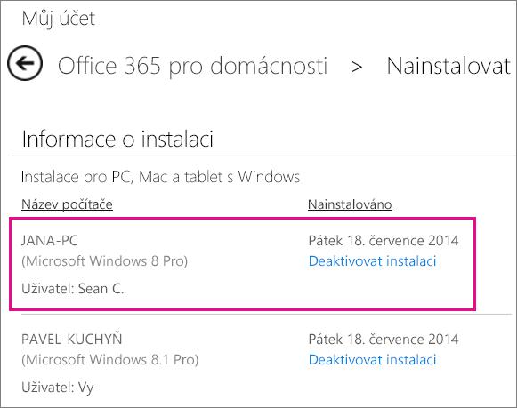 Snímek obrazovky stránky instalace s vybraným názvem počítače a jménem člověka, který Office nainstaloval