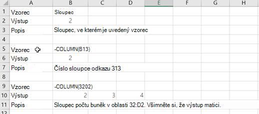 Příklady funkce sloupec
