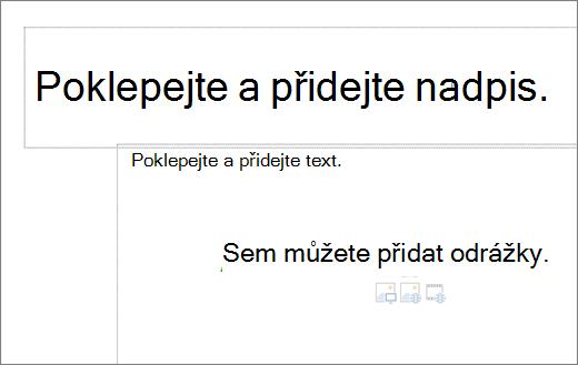 Obrázek prázdným názvem pole a prázdná textová pole zobrazíte, kde bude fungovat odrážky.