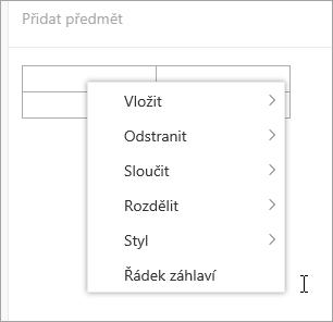 Snímek obrazovky s místní nabídka pro tabulku