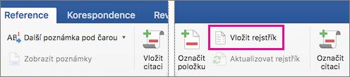Karta Reference se zvýrazněnou možností Vložit rejstřík