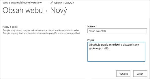 Chcete-li přidat název a popis nové dialogové okno seznam