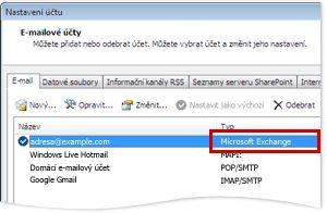 Příklad účtu systému Exchange v dialogovém okně Nastavení účtu