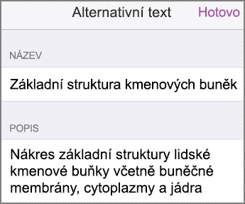 Dialogové okno Alternativní text v iPhonu