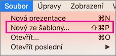 Příkaz Nový ze šablony v Office pro Mac