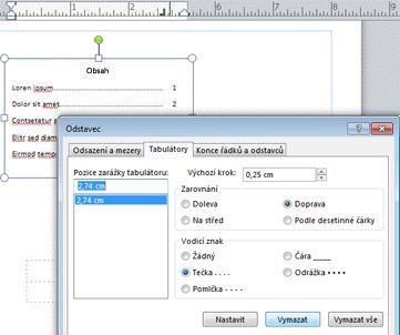 Vytvoření obsahu pomocí tabulátorů a vodítek