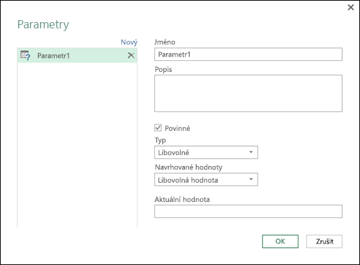 Power Query – Dialog Spravovat parametry