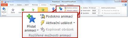 Skupina Rozšířené možnosti animací na kartě Animace na pásu karet v PowerPointu 2010