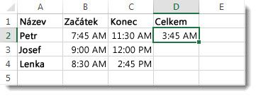 Jedna časová hodnota odečtená od druhé kvůli získání uplynulé doby